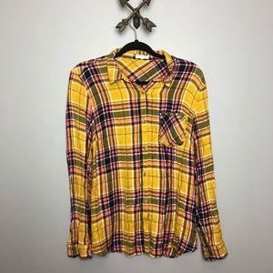 Women's mustard and pink plaid button down Sz L
